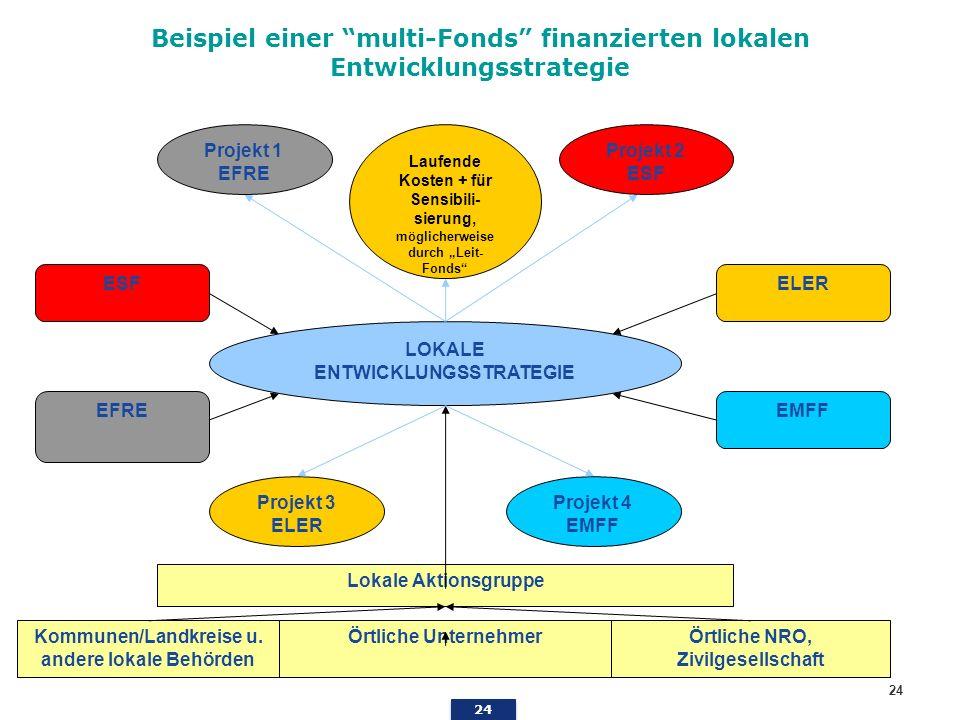 Beispiel einer multi-Fonds finanzierten lokalen Entwicklungsstrategie