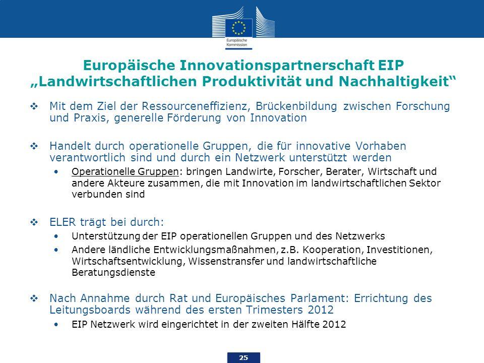 """Europäische Innovationspartnerschaft EIP """"Landwirtschaftlichen Produktivität und Nachhaltigkeit"""