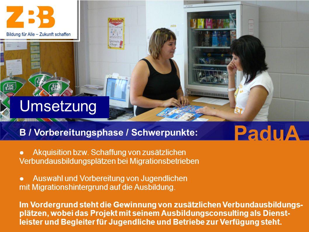 PaduA Umsetzung B / Vorbereitungsphase / Schwerpunkte: