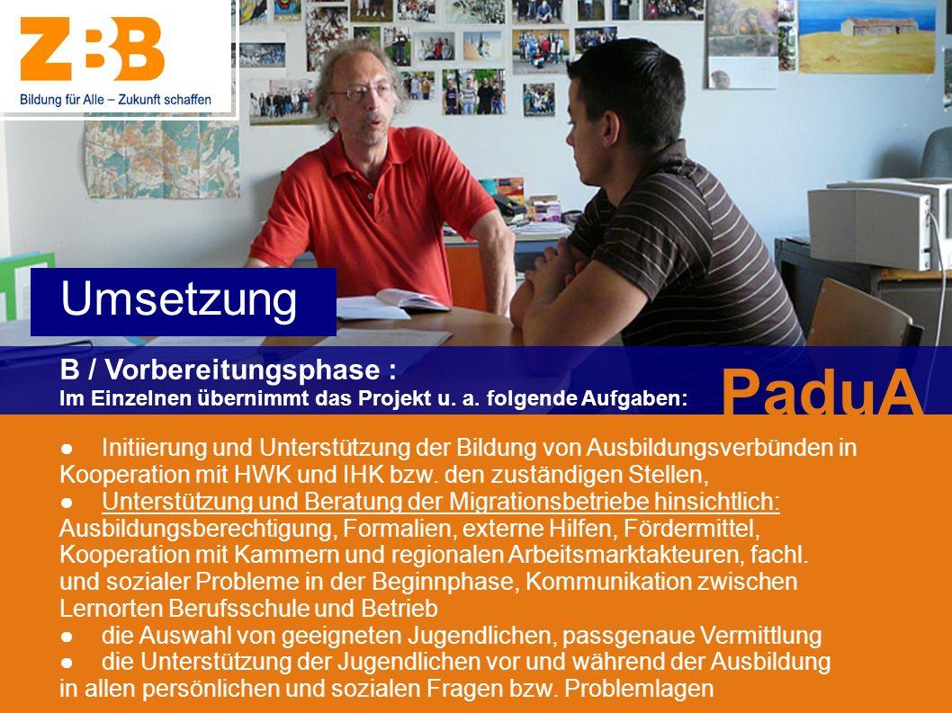 PaduA Umsetzung B / Vorbereitungsphase :