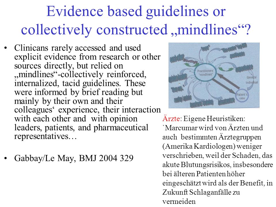 "Evidence based guidelines or collectively constructed ""mindlines"