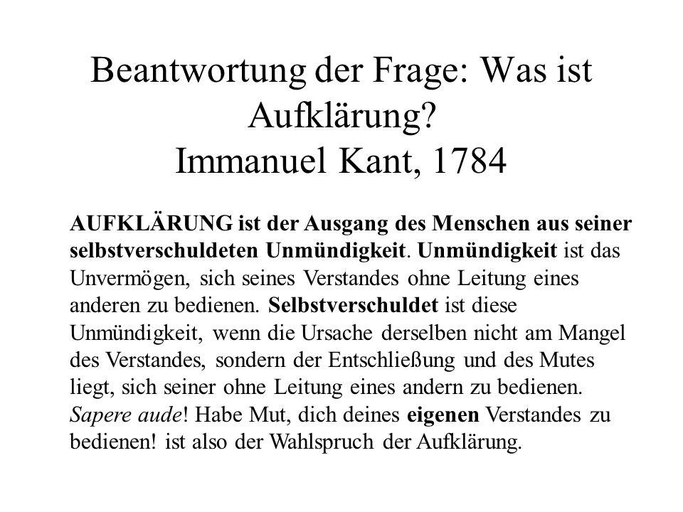 Beantwortung der Frage: Was ist Aufklärung Immanuel Kant, 1784