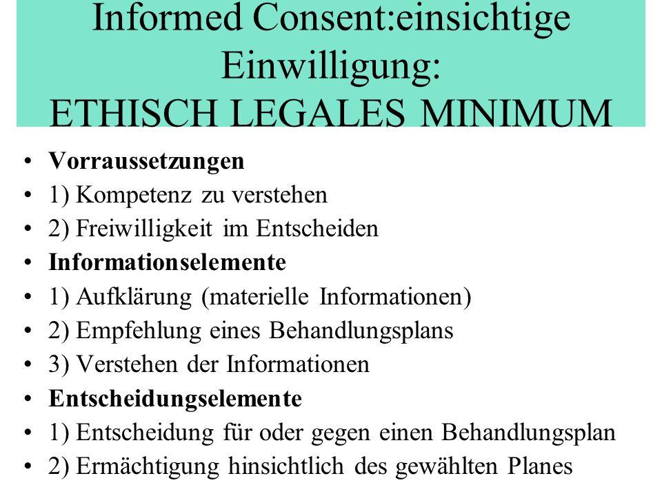 Informed Consent:einsichtige Einwilligung: ETHISCH LEGALES MINIMUM