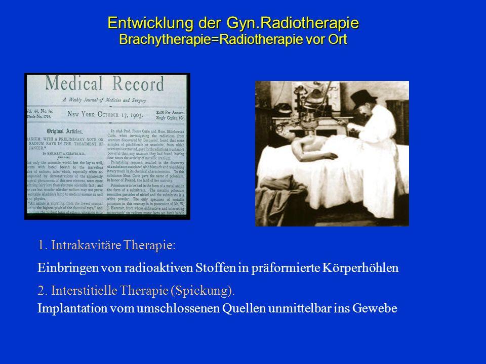 Entwicklung der Gyn.Radiotherapie Brachytherapie=Radiotherapie vor Ort