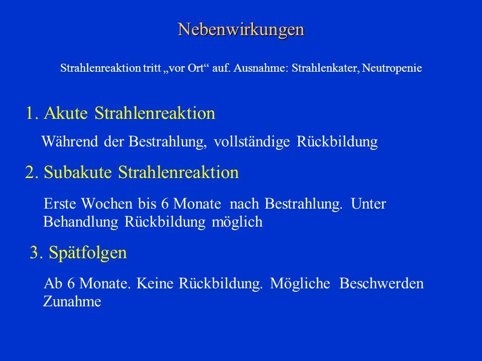 1. Akute Strahlenreaktion 2. Subakute Strahlenreaktion