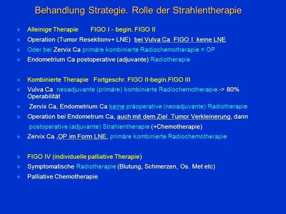 Behandlung Strategie. Rolle der Strahlentherapie