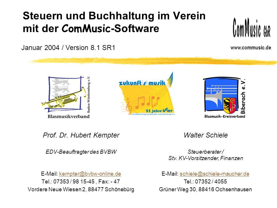 Steuern und Buchhaltung im Verein mit der ComMusic-Software