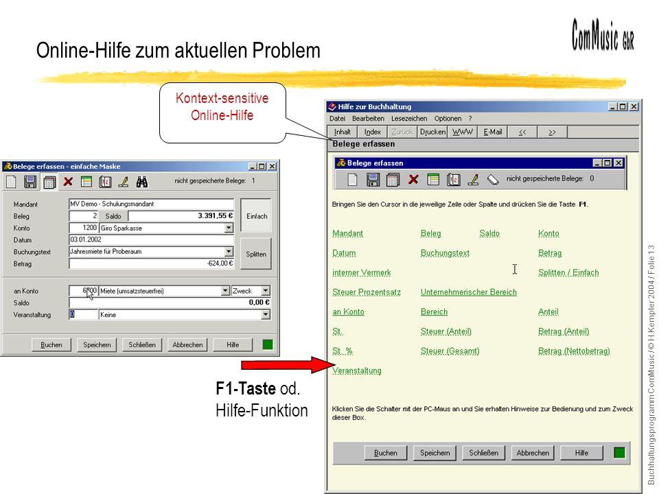 Online-Hilfe zum aktuellen Problem