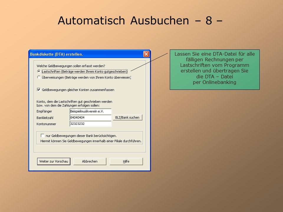 Automatisch Ausbuchen – 8 –