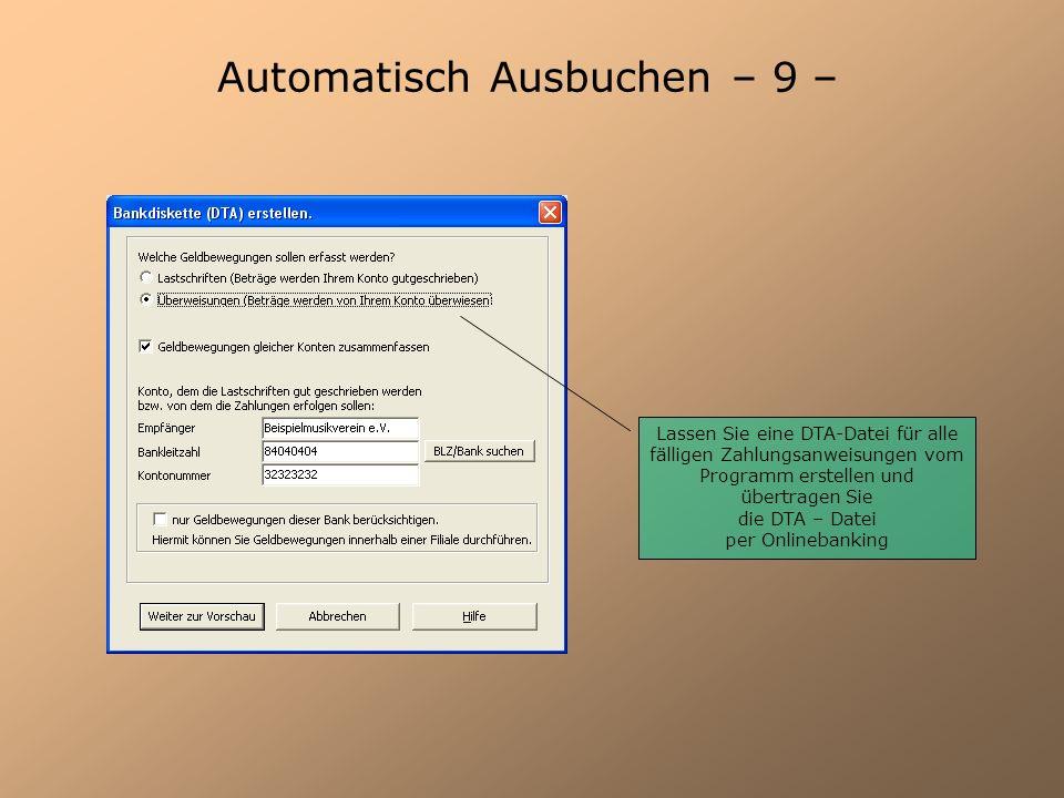 Automatisch Ausbuchen – 9 –