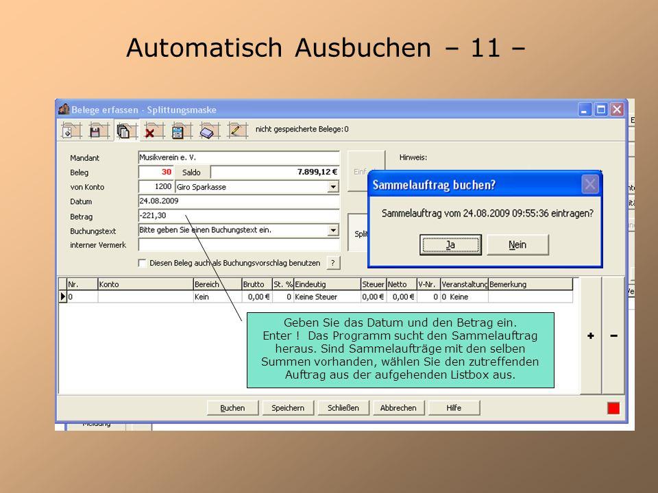 Automatisch Ausbuchen – 11 –