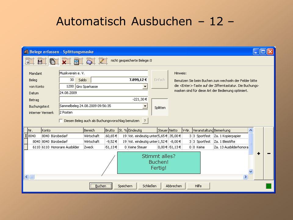 Automatisch Ausbuchen – 12 –