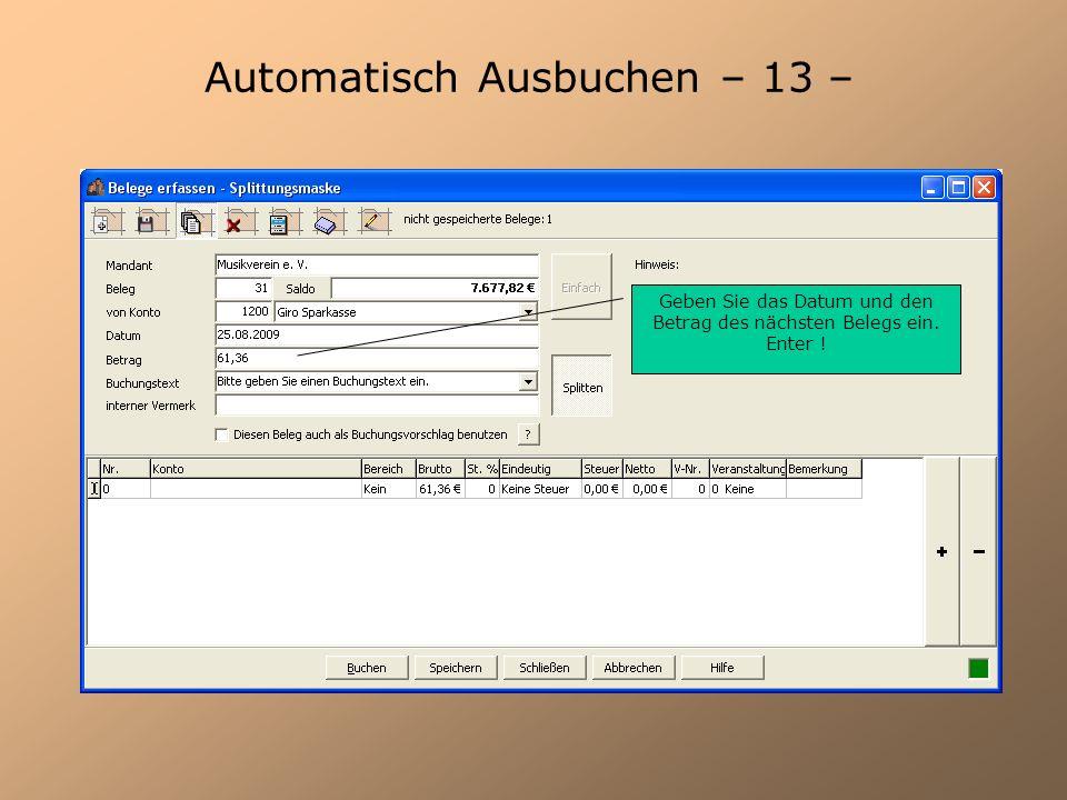 Automatisch Ausbuchen – 13 –