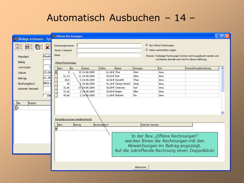 Automatisch Ausbuchen – 14 –