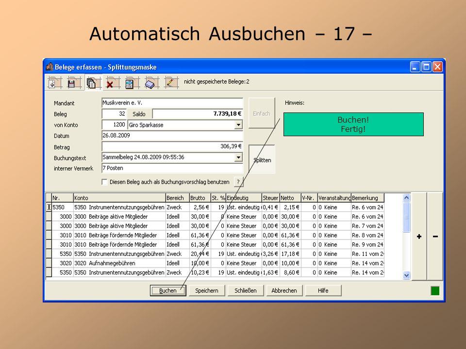 Automatisch Ausbuchen – 17 –