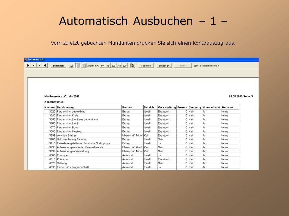 Automatisch Ausbuchen – 1 –