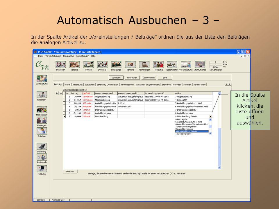 Automatisch Ausbuchen – 3 –