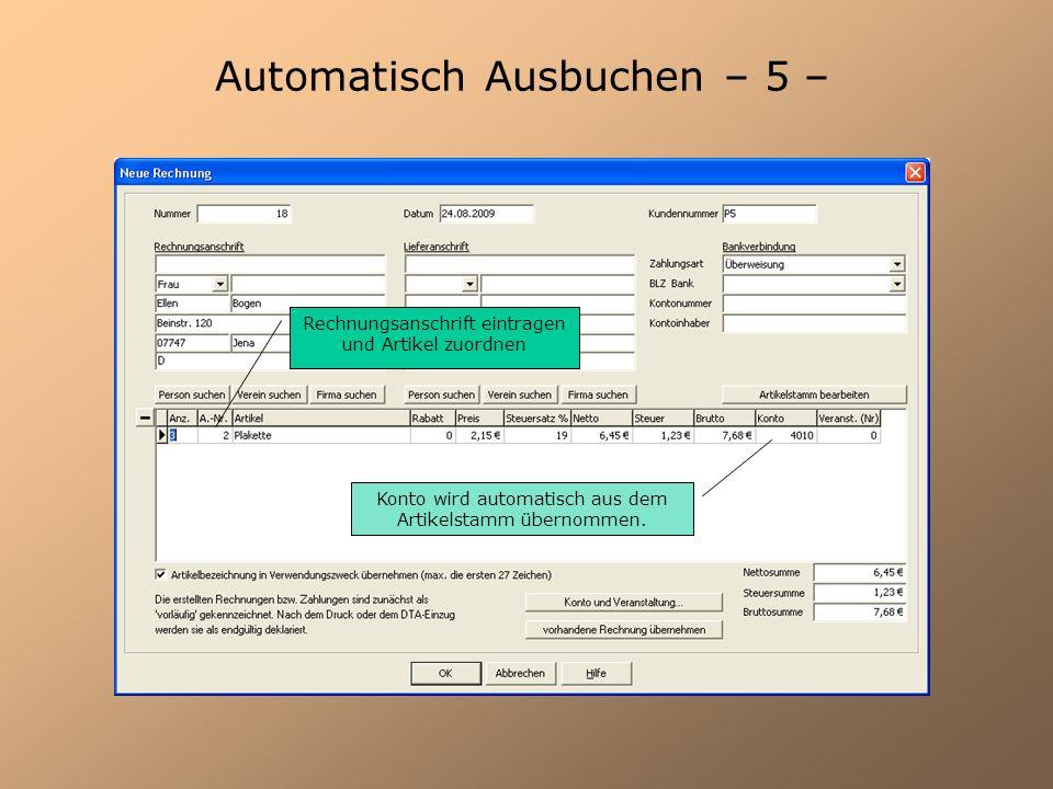 Automatisch Ausbuchen – 5 –
