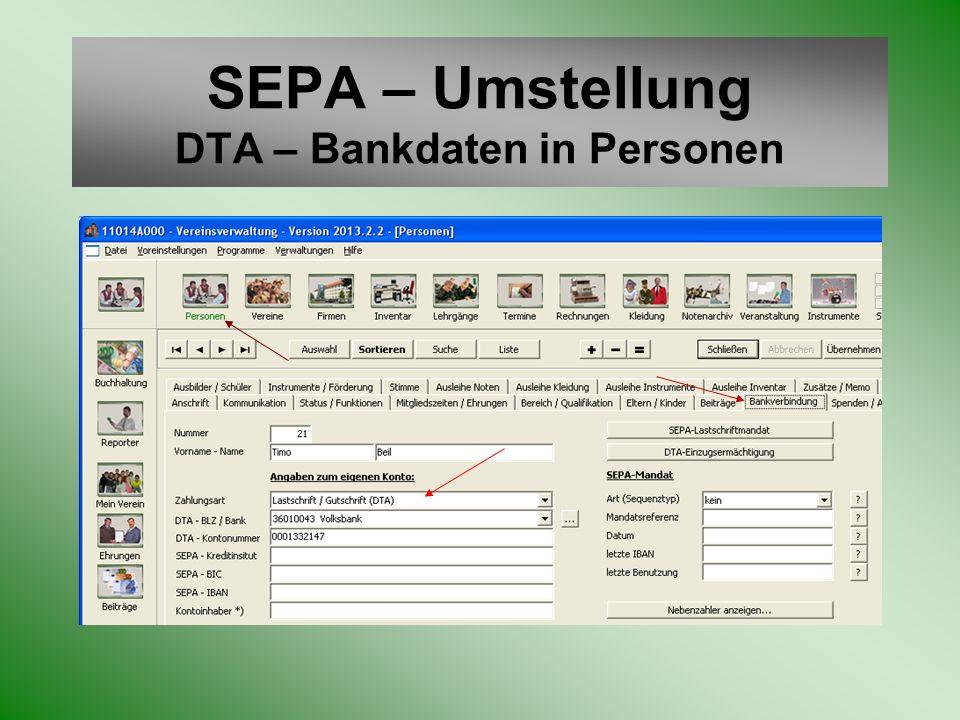 SEPA – Umstellung DTA – Bankdaten in Personen