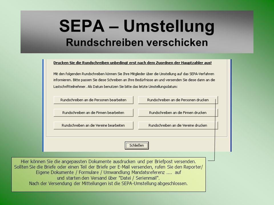 SEPA – Umstellung Rundschreiben verschicken