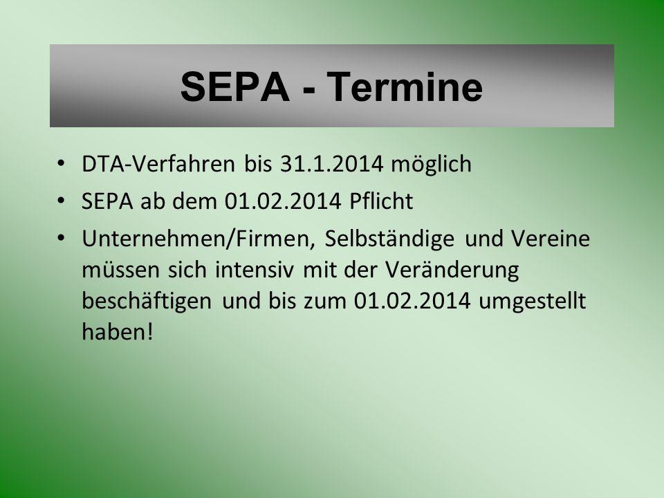 SEPA - Termine DTA-Verfahren bis 31.1.2014 möglich