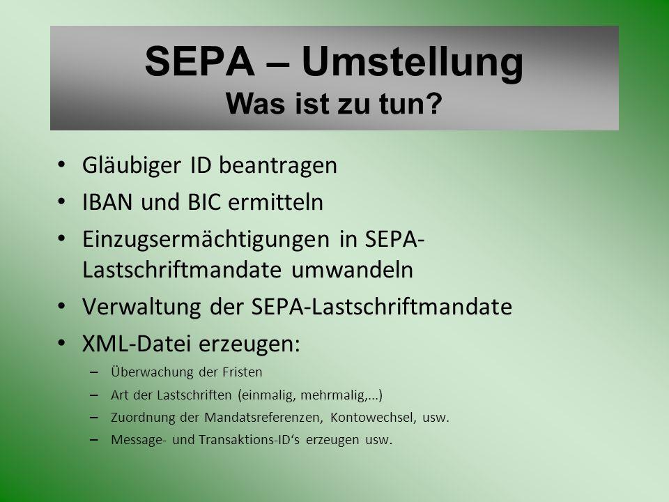 SEPA – Umstellung Was ist zu tun