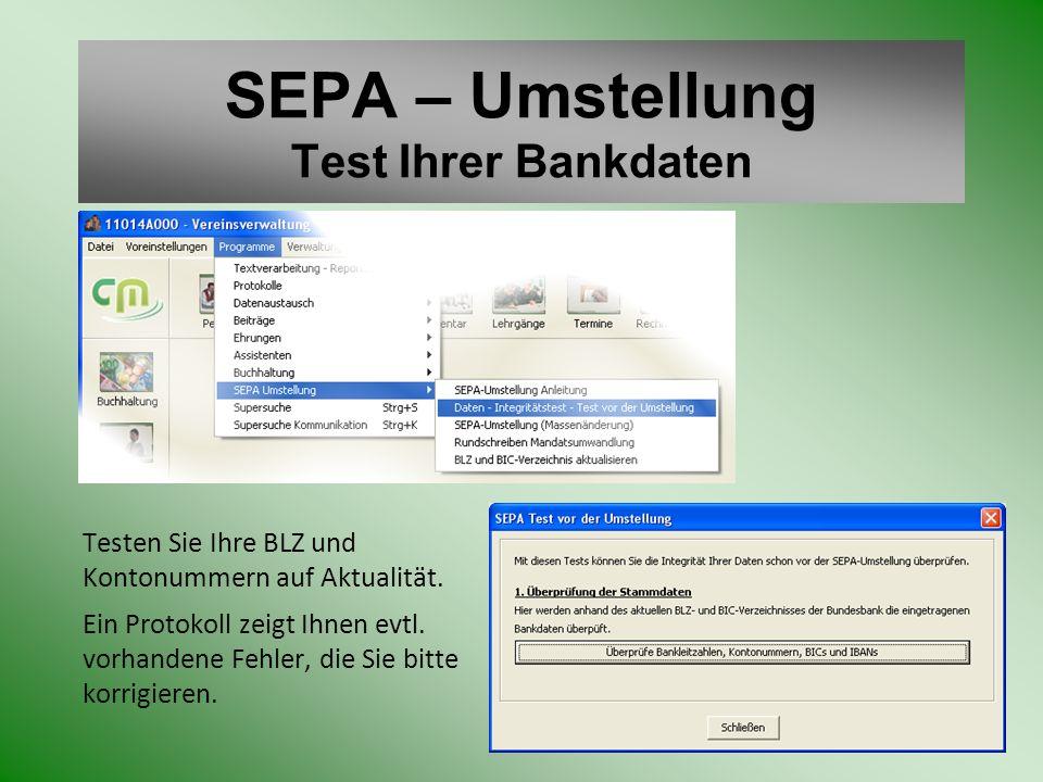 SEPA – Umstellung Test Ihrer Bankdaten