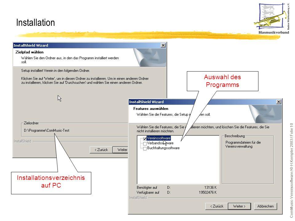 Installationsverzeichnis auf PC