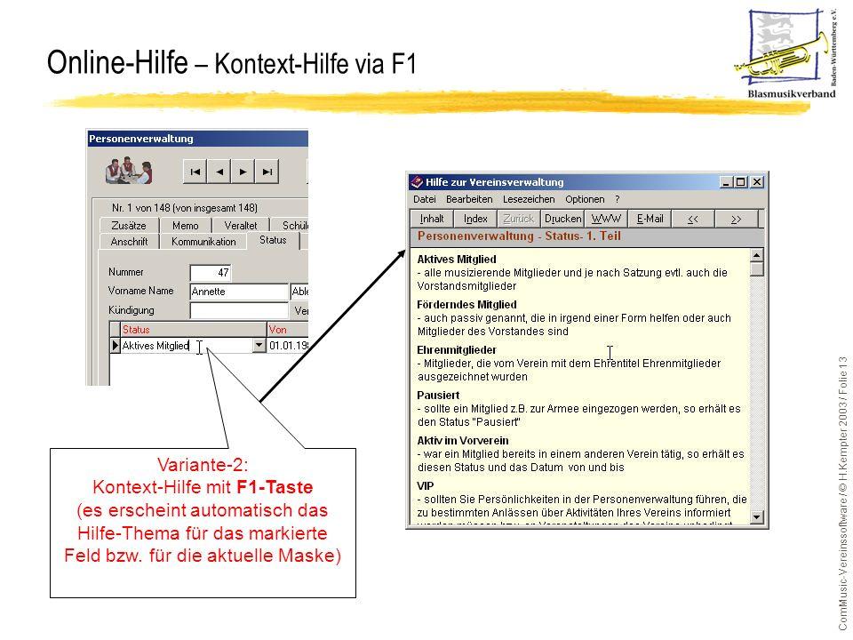 Online-Hilfe – Kontext-Hilfe via F1