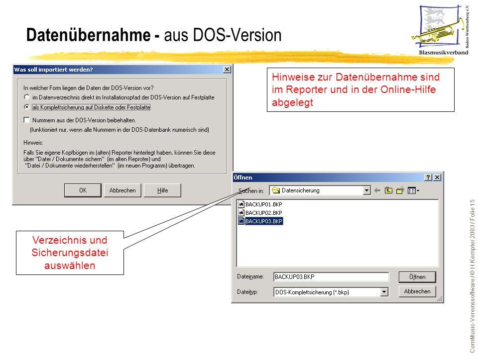 Datenübernahme - aus DOS-Version