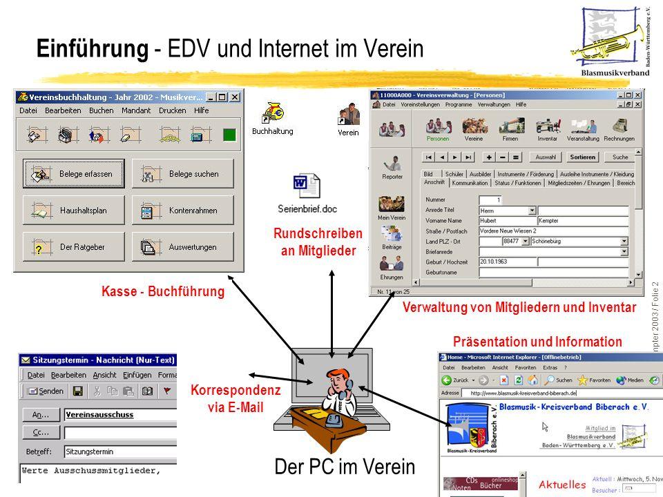 Einführung - EDV und Internet im Verein