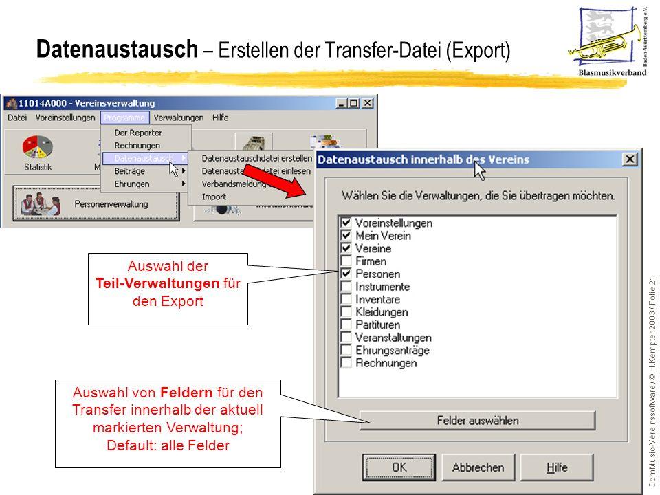 Datenaustausch – Erstellen der Transfer-Datei (Export)
