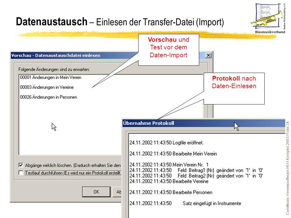 Datenaustausch – Einlesen der Transfer-Datei (Import)