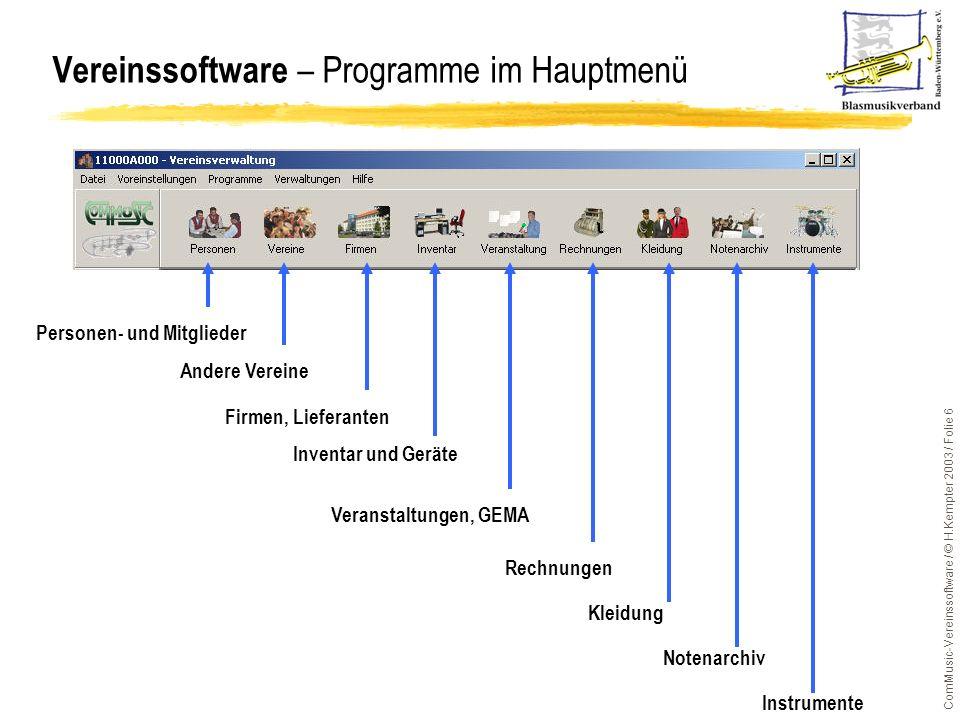 Vereinssoftware – Programme im Hauptmenü