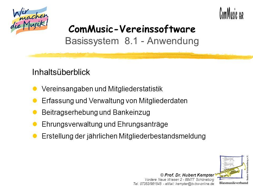 ComMusic-Vereinssoftware Basissystem 8.1 - Anwendung