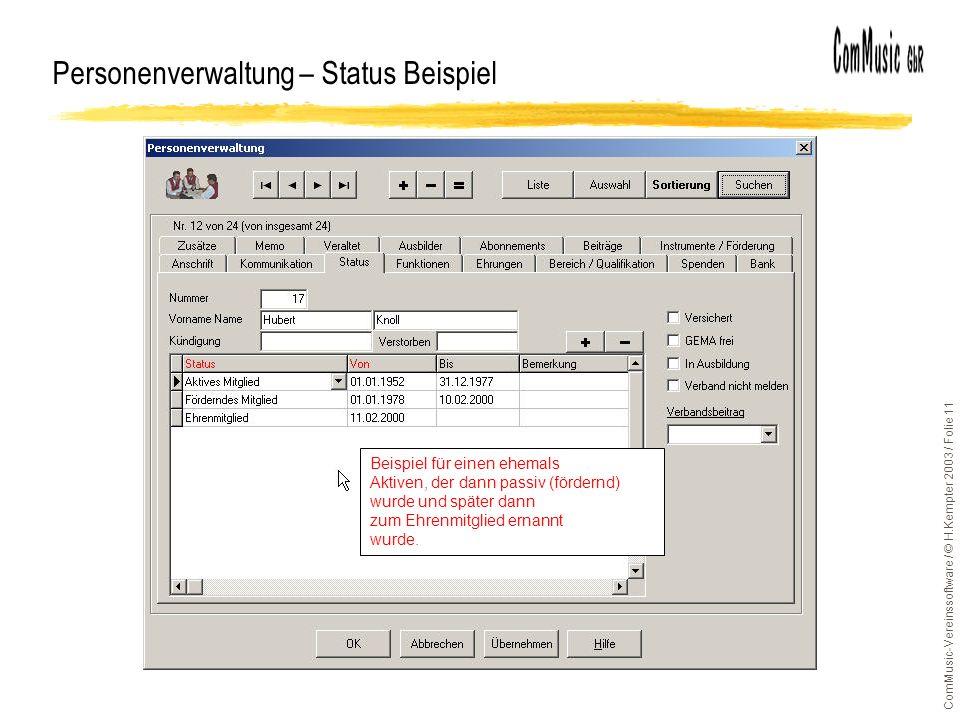 Personenverwaltung – Status Beispiel