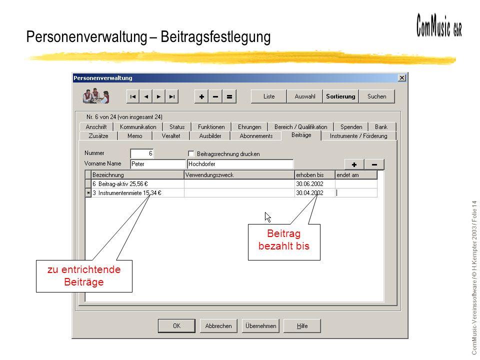 Personenverwaltung – Beitragsfestlegung
