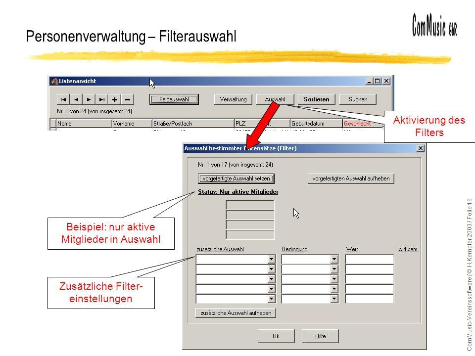 Personenverwaltung – Filterauswahl