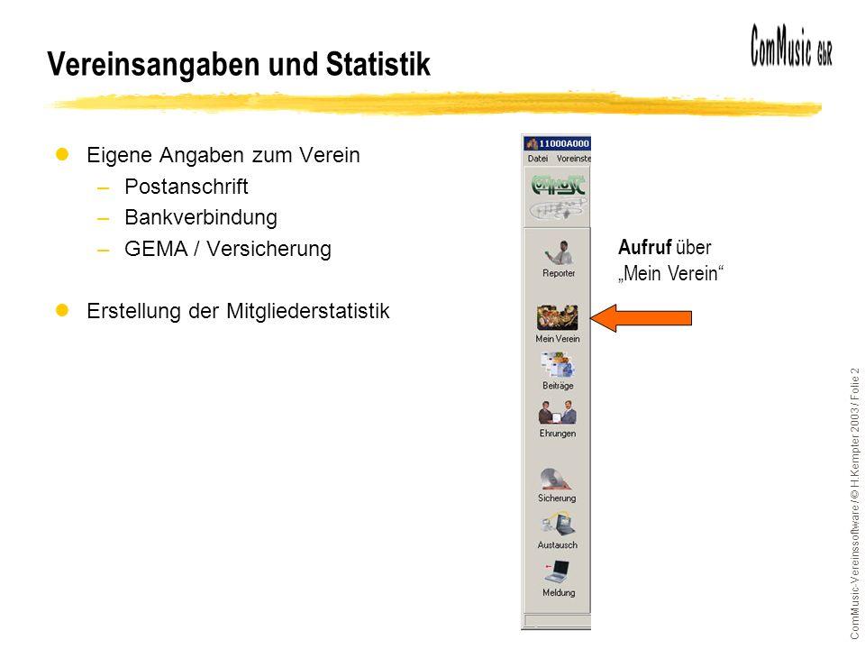 Vereinsangaben und Statistik