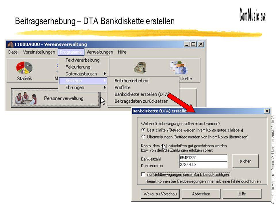 Beitragserhebung – DTA Bankdiskette erstellen