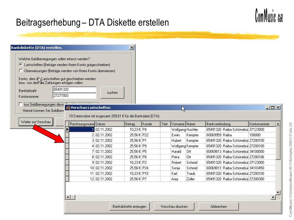 Beitragserhebung – DTA Diskette erstellen