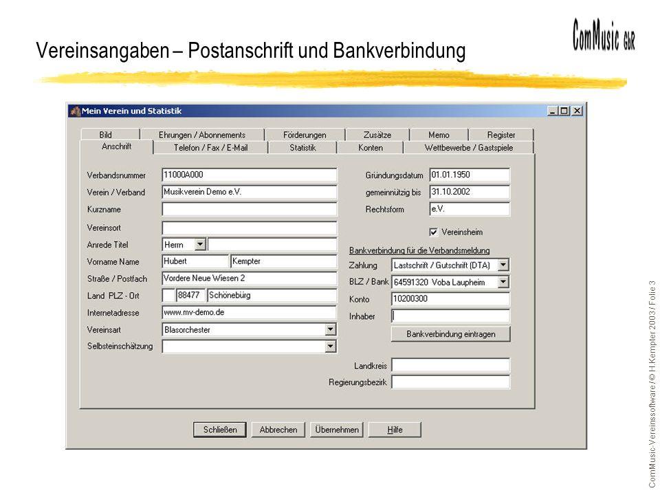 Vereinsangaben – Postanschrift und Bankverbindung