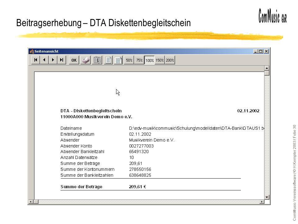 Beitragserhebung – DTA Diskettenbegleitschein