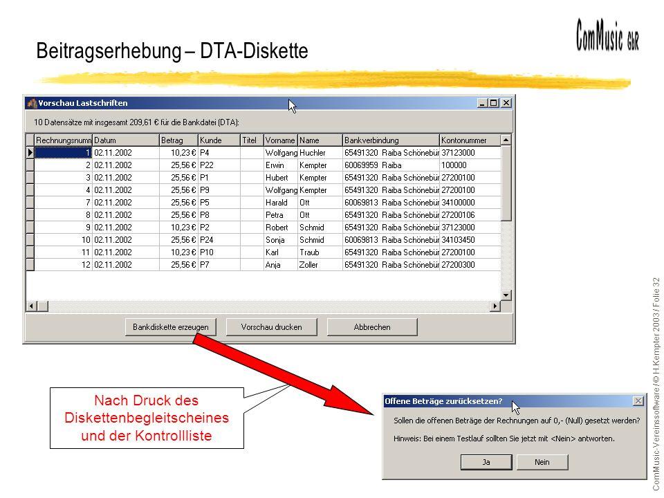 Beitragserhebung – DTA-Diskette