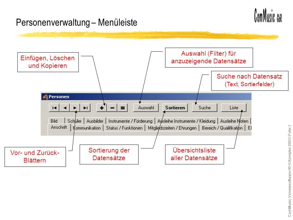 Personenverwaltung – Menüleiste