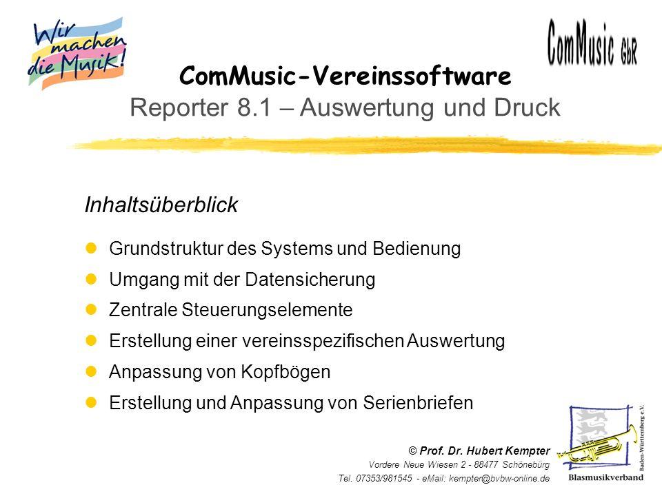 ComMusic-Vereinssoftware Reporter 8.1 – Auswertung und Druck