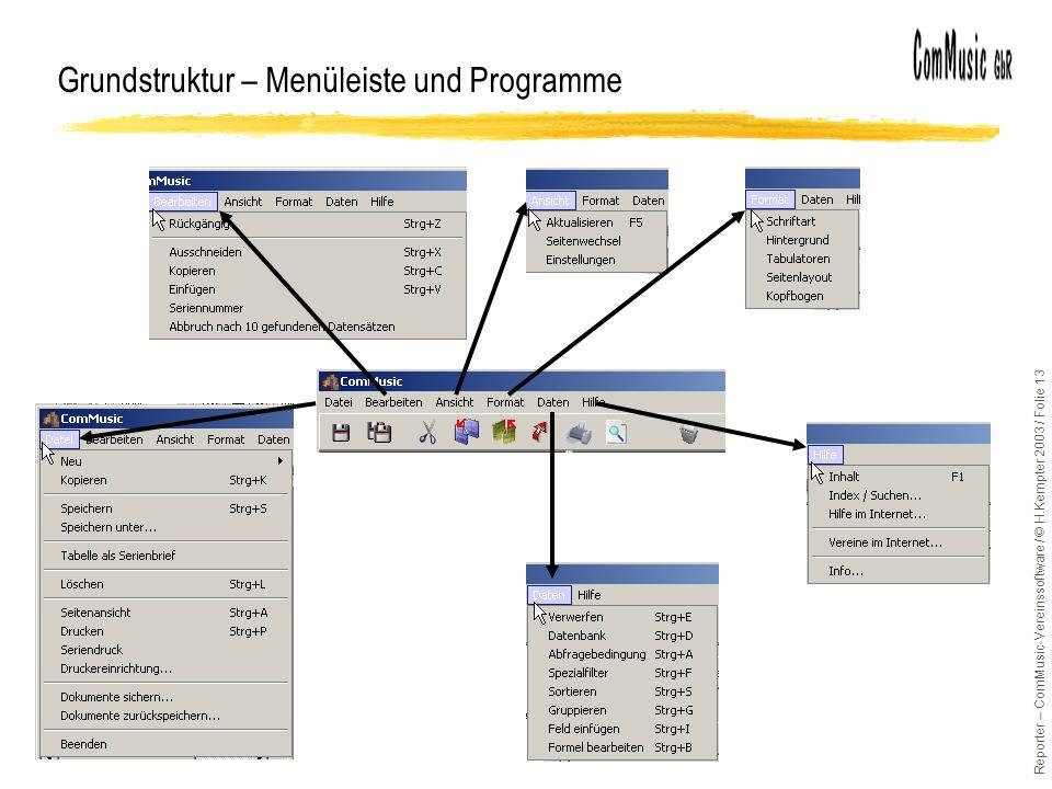 Grundstruktur – Menüleiste und Programme