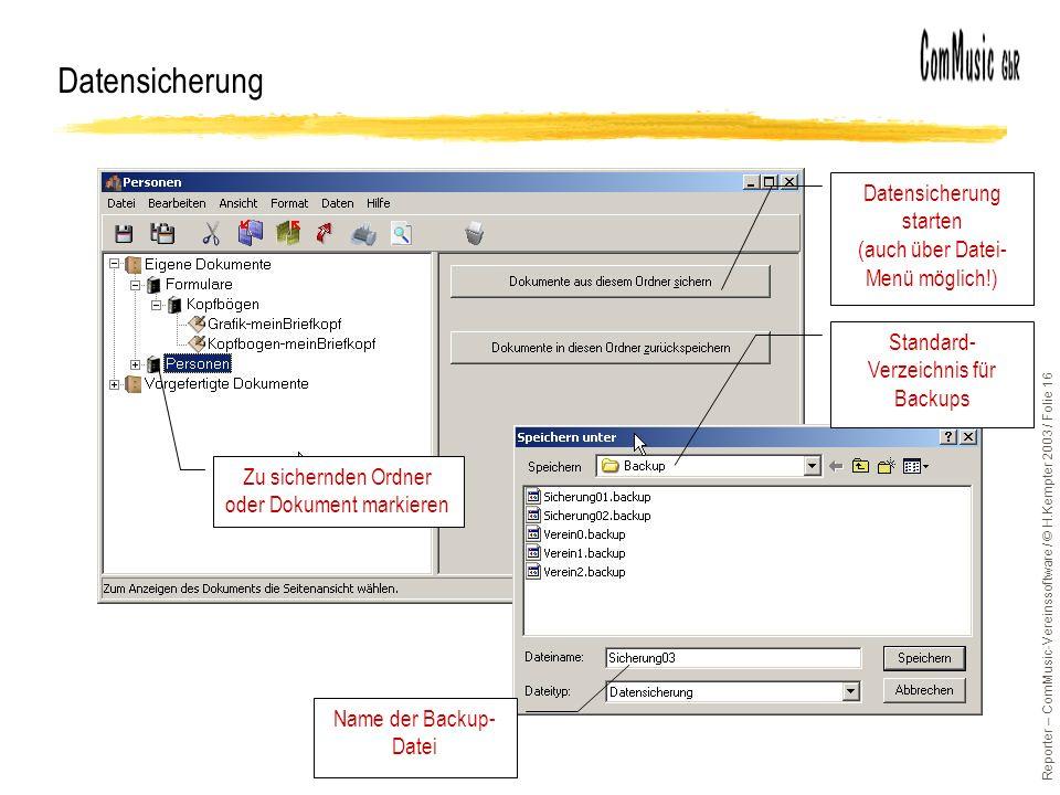 Datensicherung Datensicherung starten (auch über Datei-Menü möglich!)