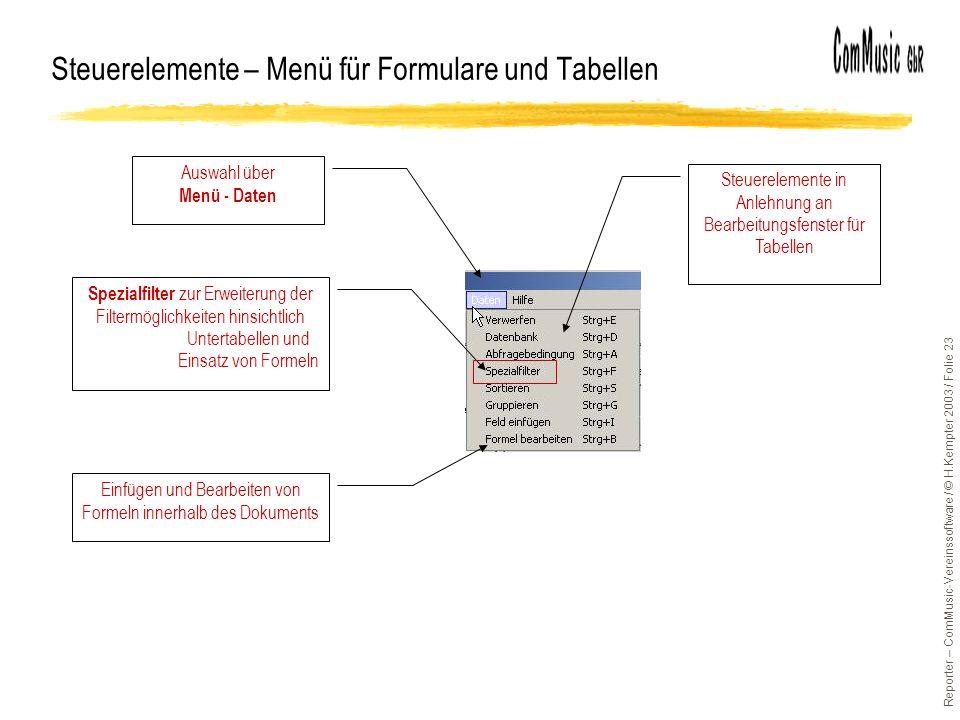 Steuerelemente – Menü für Formulare und Tabellen