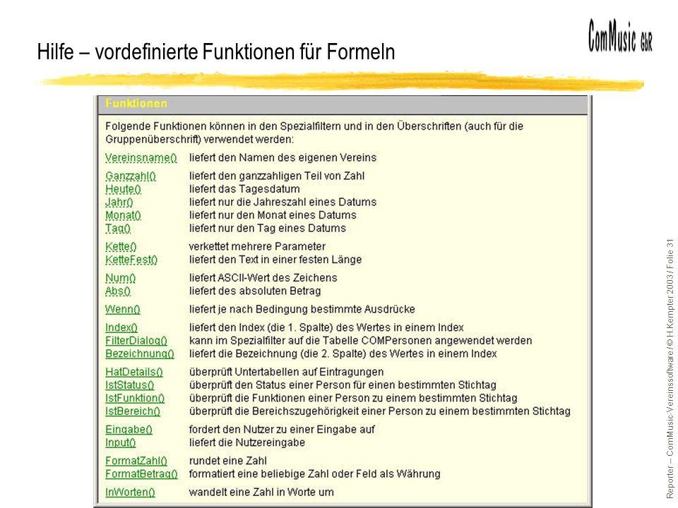 Hilfe – vordefinierte Funktionen für Formeln